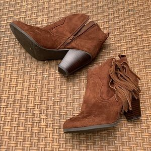Madden girl• Pancho Brown Suede Fringe Booties